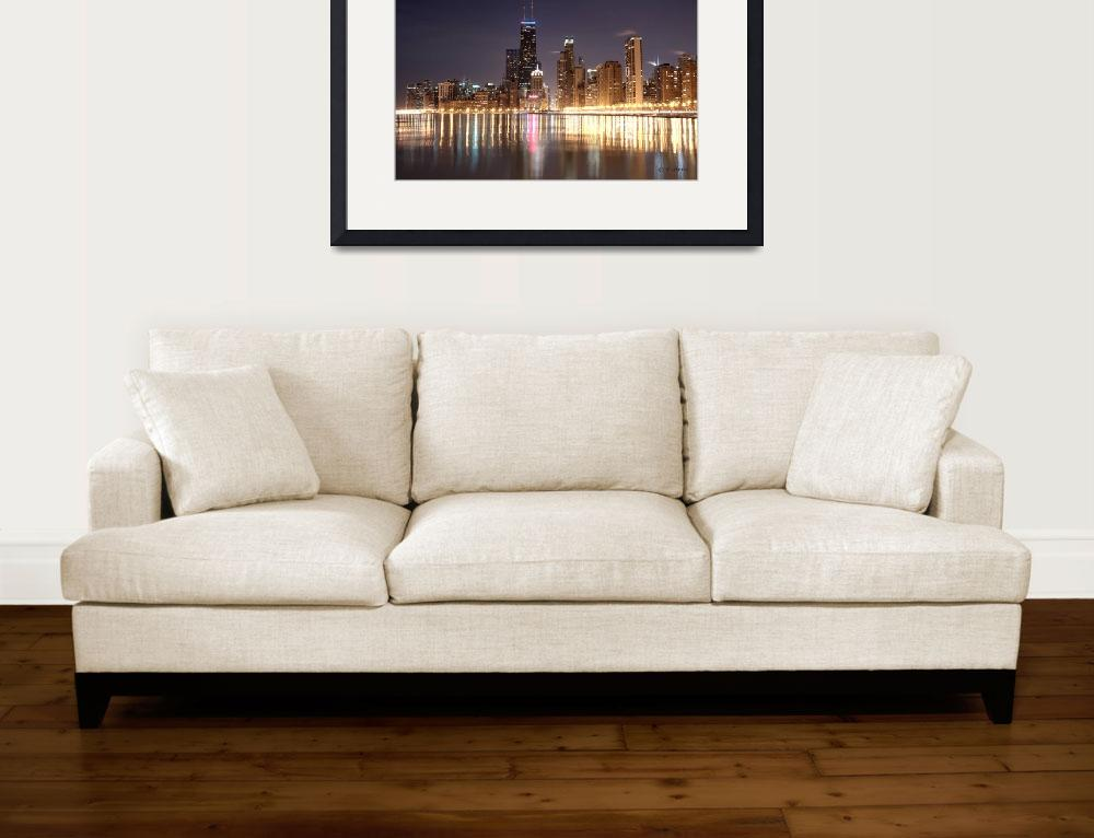 """""""Chicago Skyline - Winter Night&quot  (2010) by ckudrna"""