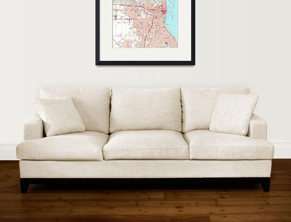 """""""Vintage Map of Corpus Christi Texas (1968)""""  by Alleycatshirts"""