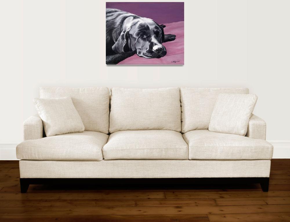"""Black Labrador Retriever Beauty Sleep&quot  (2007) by DogsandFlowers"
