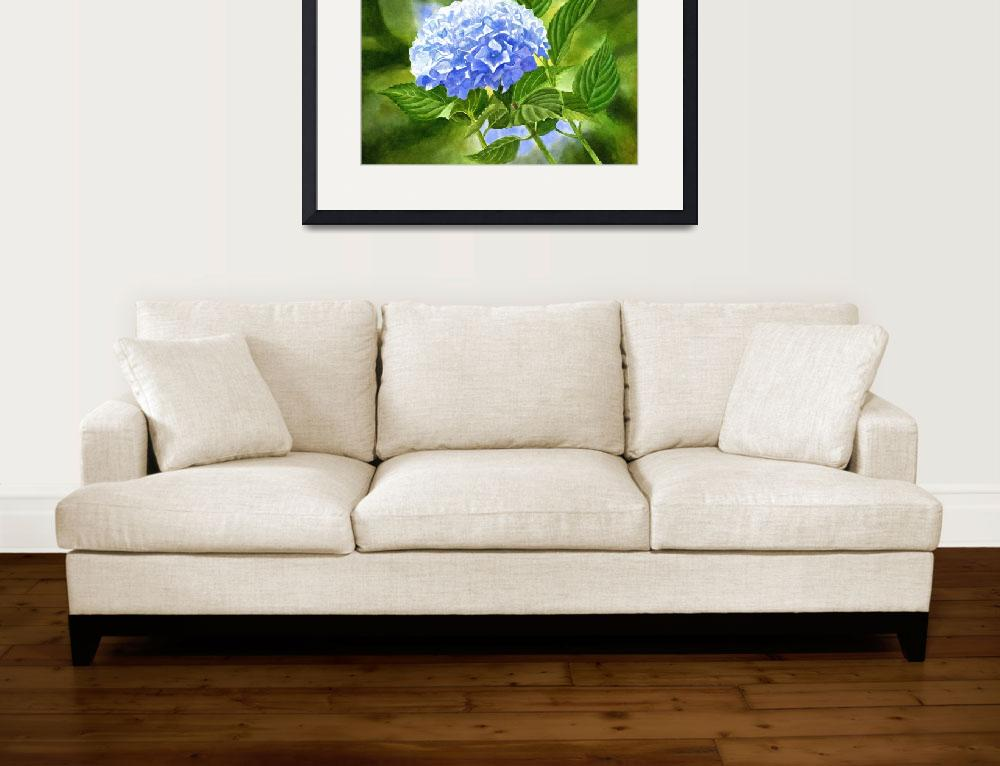 """Blue Hydrangea Blossom with Background&quot  (2016) by Pacific-NW-Watercolors"