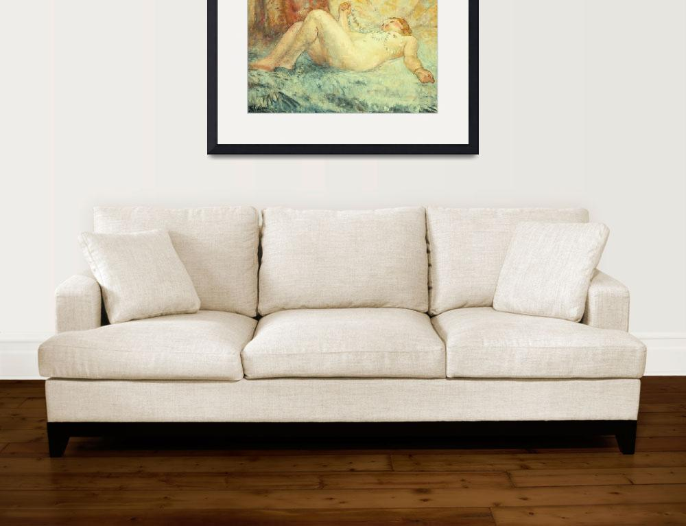 """Reclining Nude (oil on canvas)""  by fineartmasters"