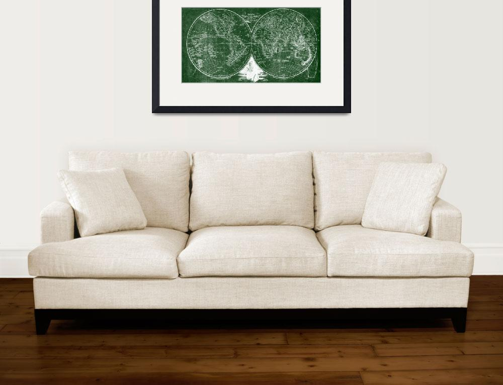 """""""World Map (1811) Green & White&quot  by Alleycatshirts"""