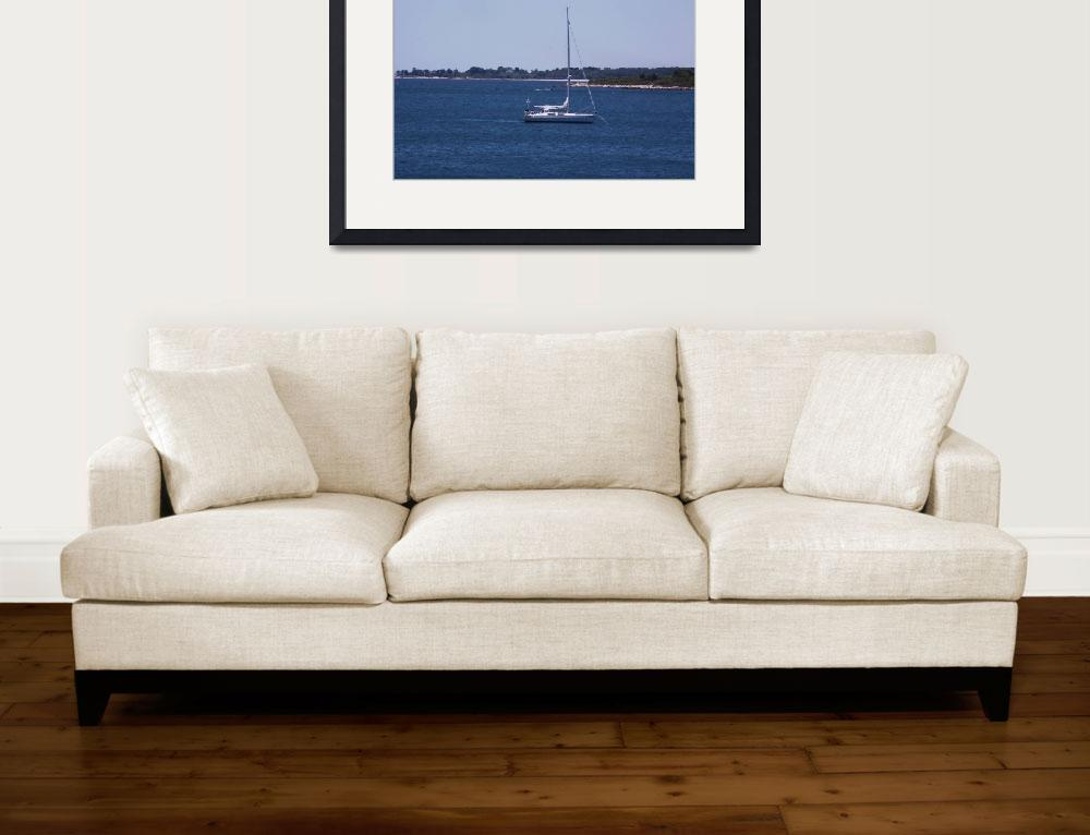 """""""A Boat is Anchored While The Passengers Have Fun&quot  (2002) by MikeMBurkeDesigns"""