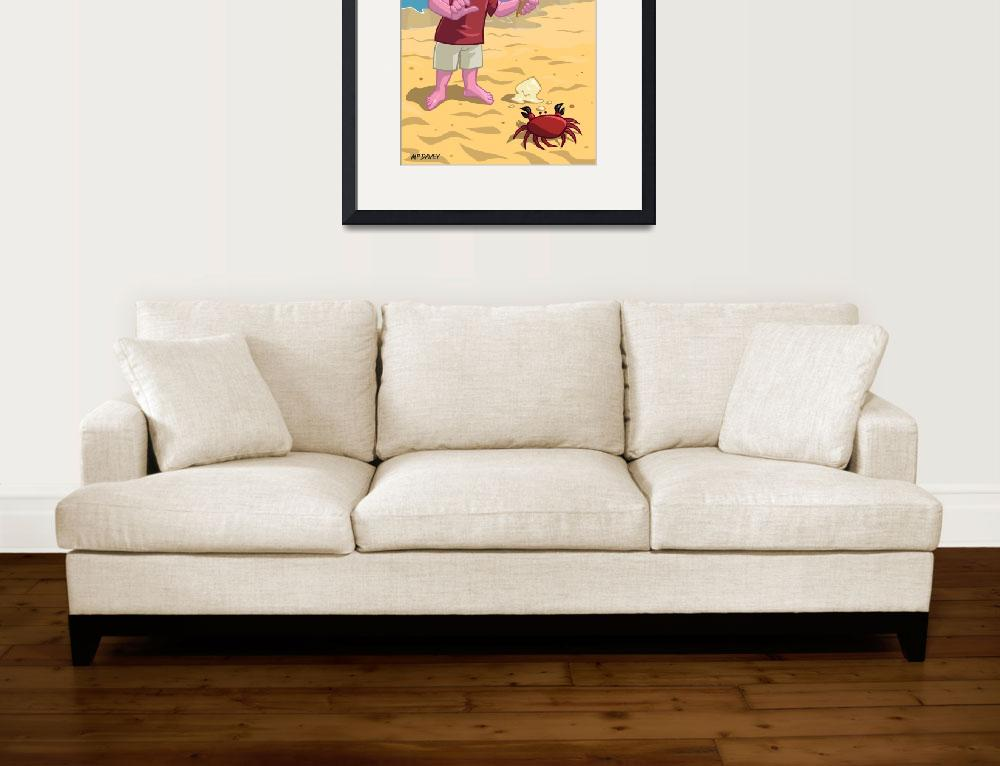 """""""cartoon boy with crab on beach&quot  (2013) by martindavey"""