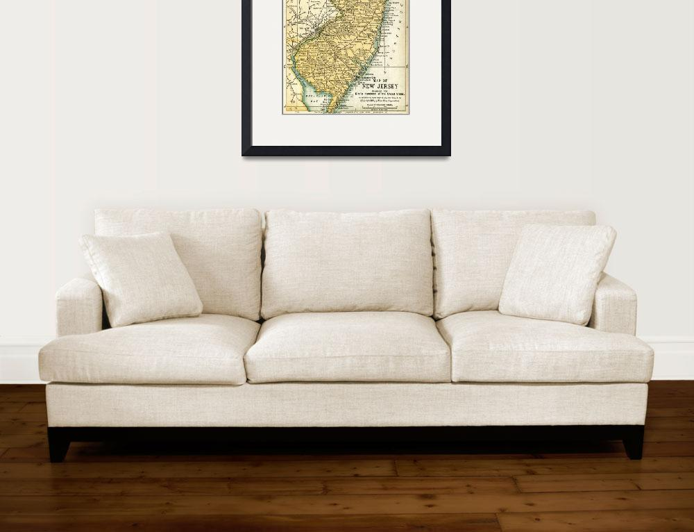 """""""New Jersey Antique Map 1891&quot  (2016) by WilshireImages"""