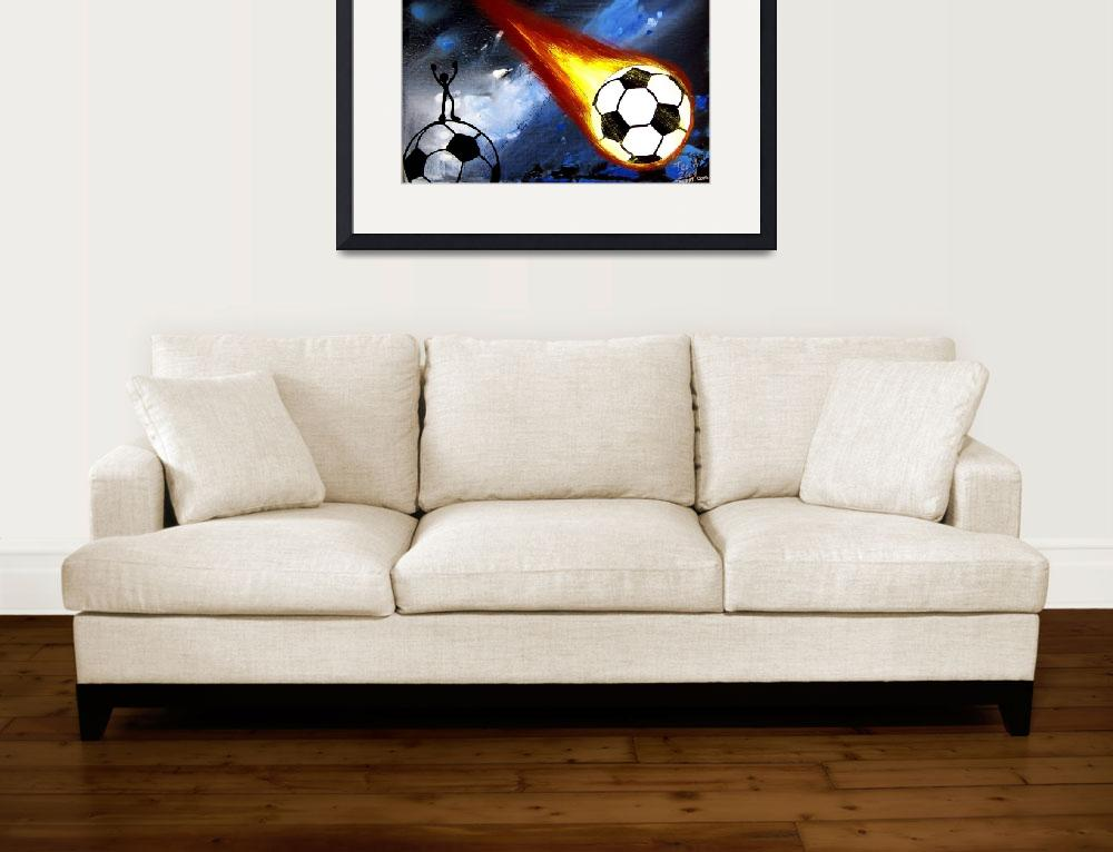 """""""WORLD CUP SOCCER ART FLAMING SOCCER BALL&quot  (2006) by teofaith"""