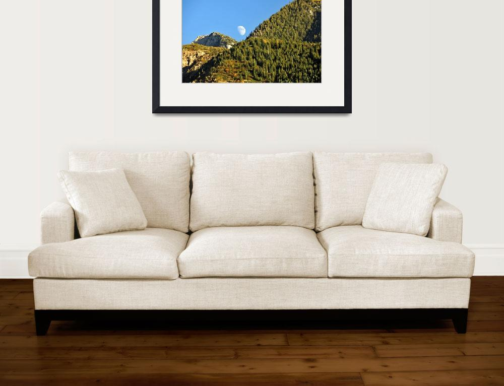 """""""Moon rising over the wasatch mountain range pine t&quot  by houstonryan"""