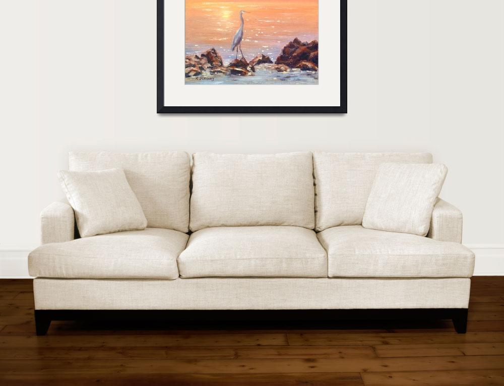 """Blue Heron at Sunset Sea&quot  (2011) by KimStenbergFineArt"