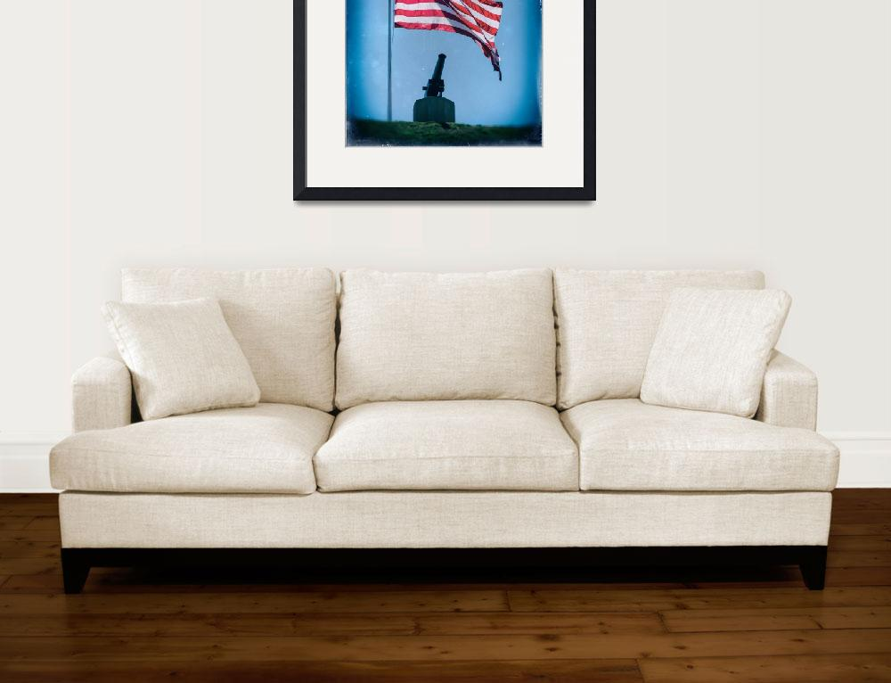 """Federal Hill Flag w Vintage Cannon over Baltimore&quot  by travel"