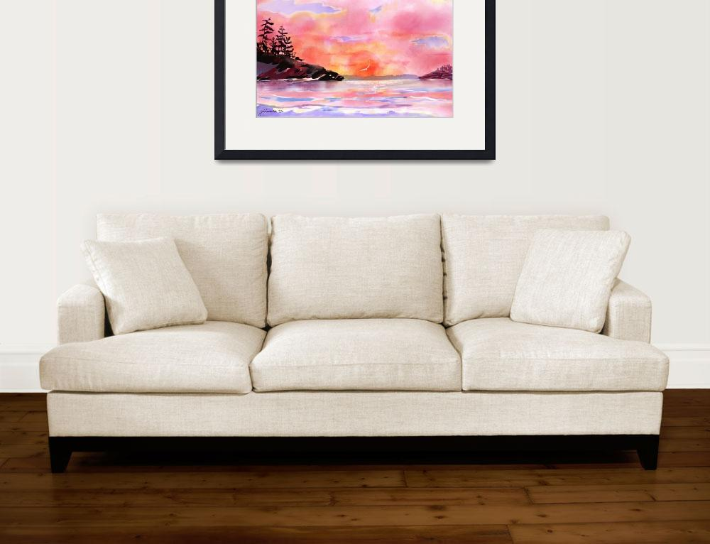 """""""Pink and Gold Sunset a digitally painted watercolo&quot  by JoanAHamilton"""