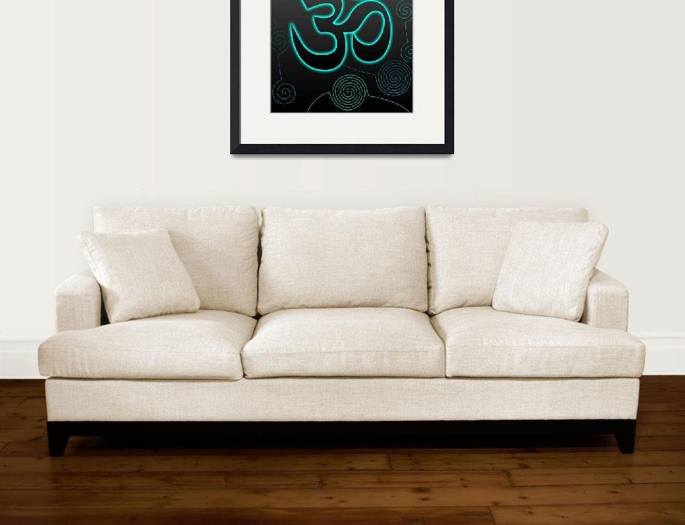 """""""OM Sign with turquoise glow&quot  (2010) by desi"""