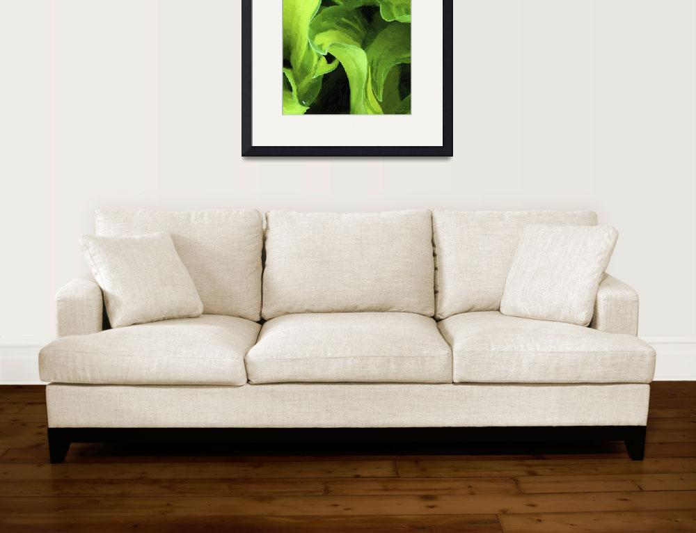 """Green Leaves Abstract Oil Painting&quot  (2012) by WallArtDeco"