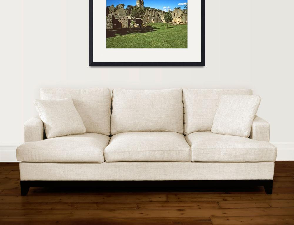 """""""Fountains Abbey in Summer 2&quot  (1990) by PriscillaTurner"""