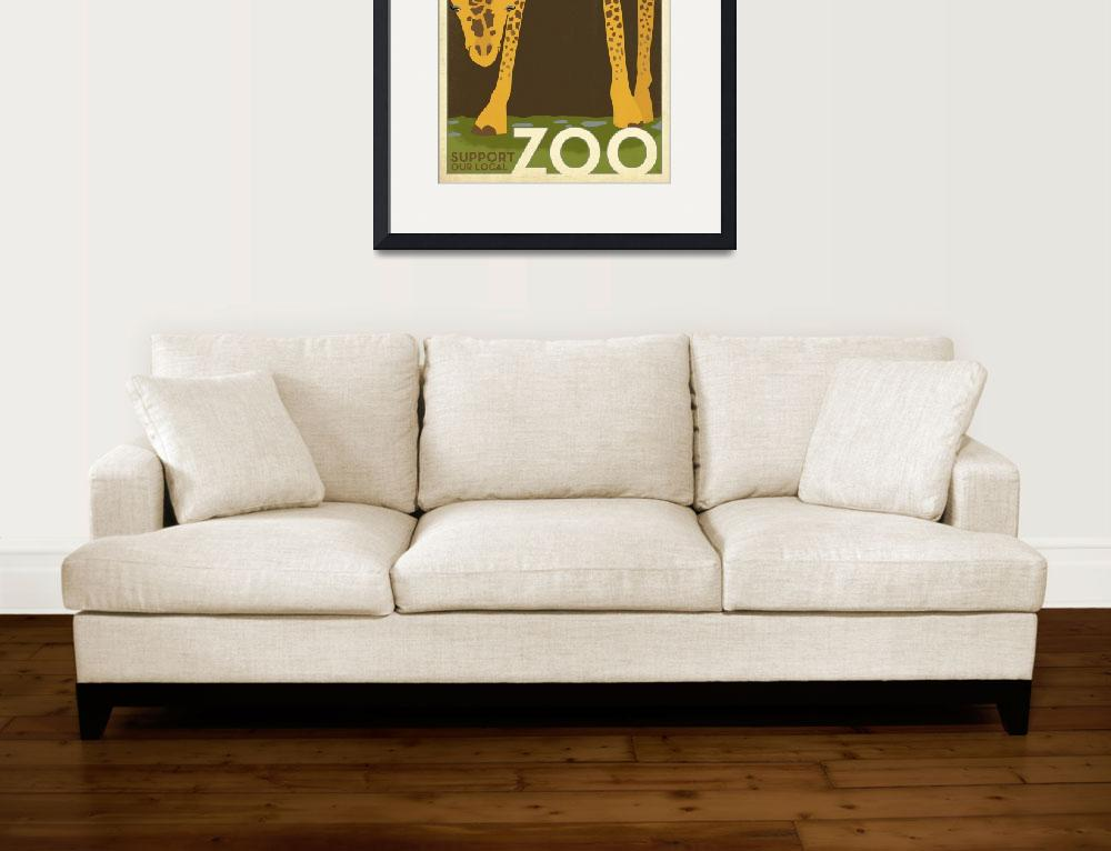 """""""Support Our Local Zoo Giraffe Retro Poster""""  by artlicensing"""