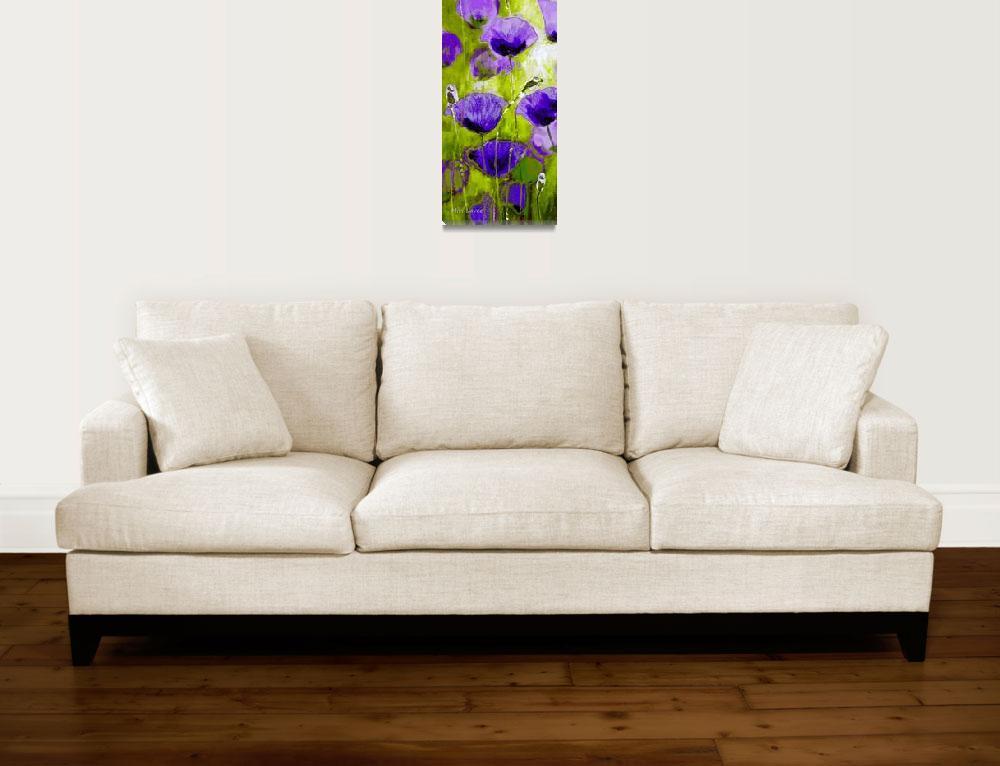 """Violet Poppies in Green field""  (2013) by art-miri"