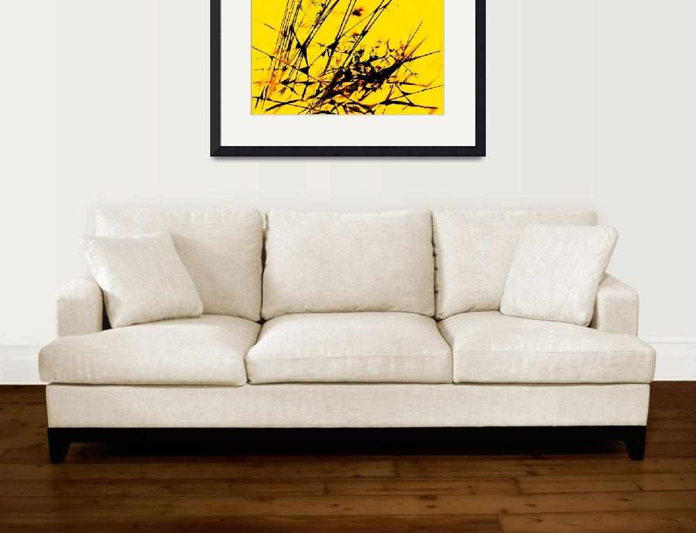 """""""Strike Out Yellow and Black Abstract&quot  (2012) by NatalieKinnear"""