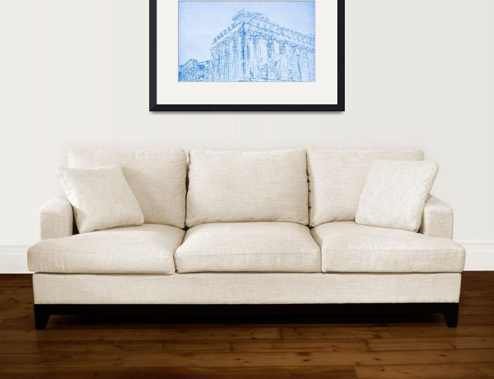 """""""Acropolis of Athens  - BluePrint Drawing&quot  by motionage"""