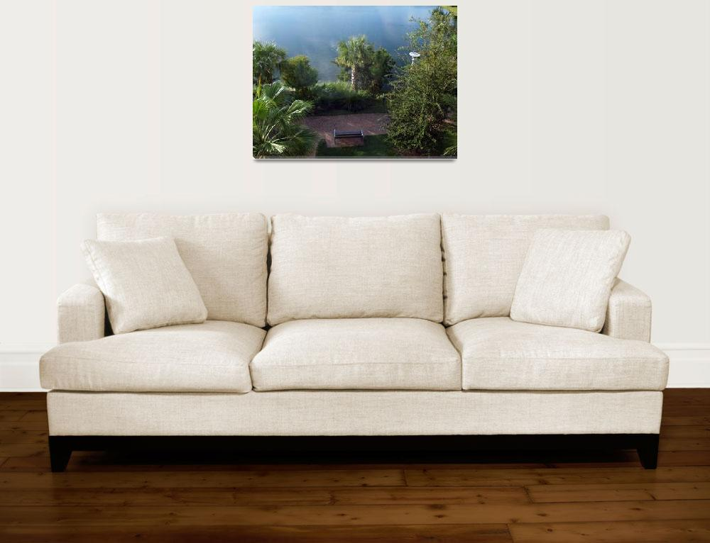 """Tropical Sunrise Bench Seascape A1""  (2015) by Ricardos"