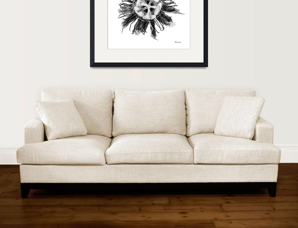 """""""Expressive Passion Flower in Greyscale 50674G&quot  (2018) by Ricardos"""
