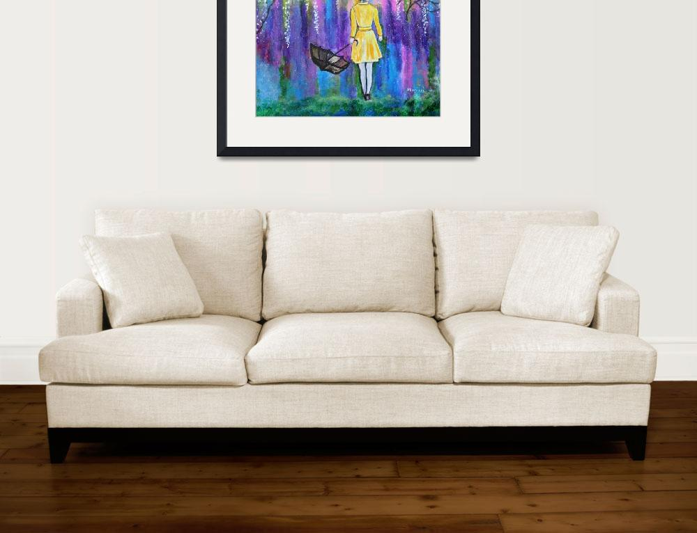 """""""Spring Walk Abstract Landscape painting colorful&quot  (2016) by mkanvinde"""