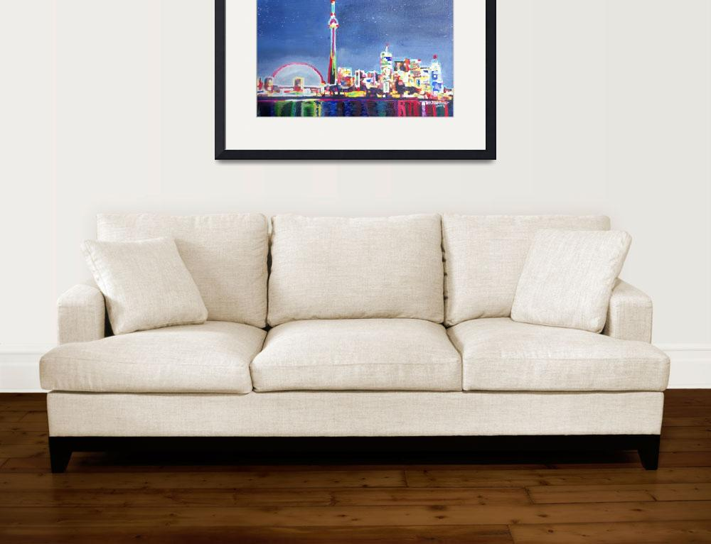 """""""Toronto Neon Shimmering Skyline with CN Tower""""  (2014) by arthop77"""