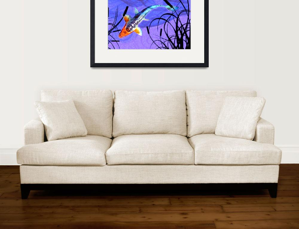 """""""Shusui Koi in Swirling Water and Cattail Shadows&quot  by ElainePlesser"""