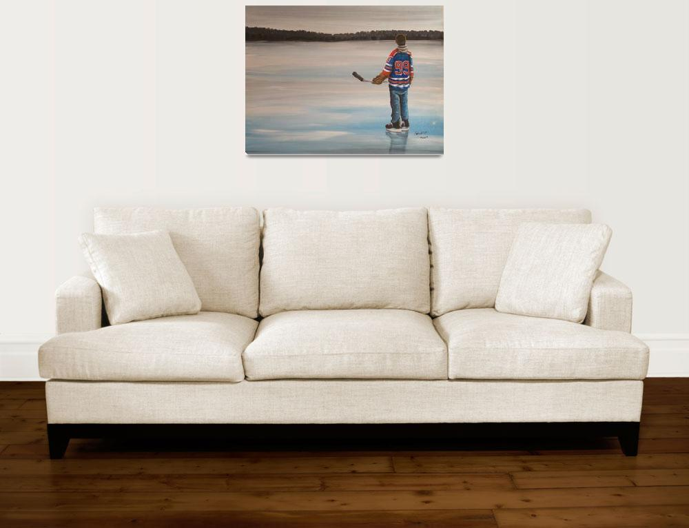 """""""On Frozen Pond - The Great One&quot  (2009) by GenestHockeyArt"""