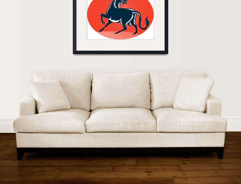 """""""Texas Longhorn Bull attacking&quot  (2013) by patrimonio"""