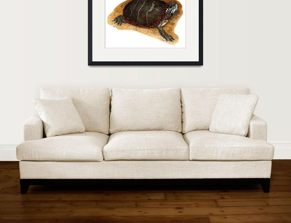 """Eastern Painted Turtle&quot  by inkart"
