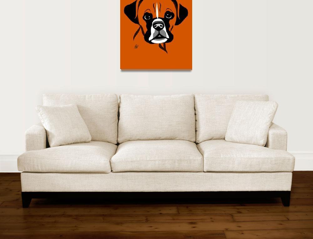 """Stylized Dog Art Of Boxer&quot  by waterart"