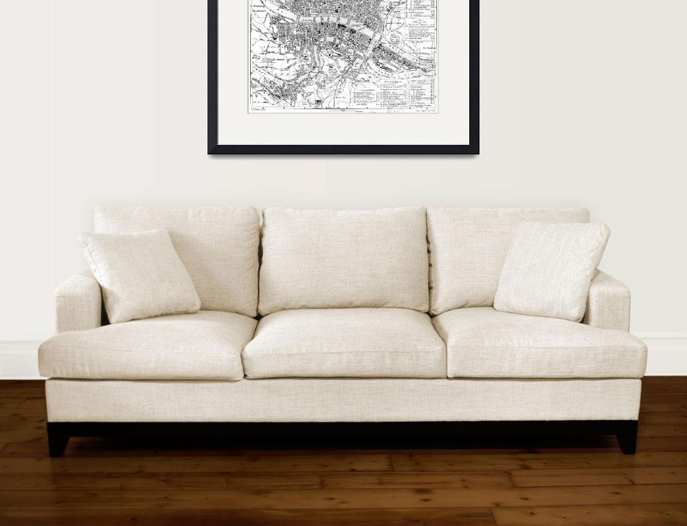 """""""Vintage Map of Lyon France (1888) BW""""  by Alleycatshirts"""
