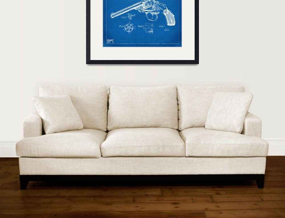 """""""Wesson 1889 Revolver Patent Minimal - Blueprint&quot  (2014) by nikkismith"""