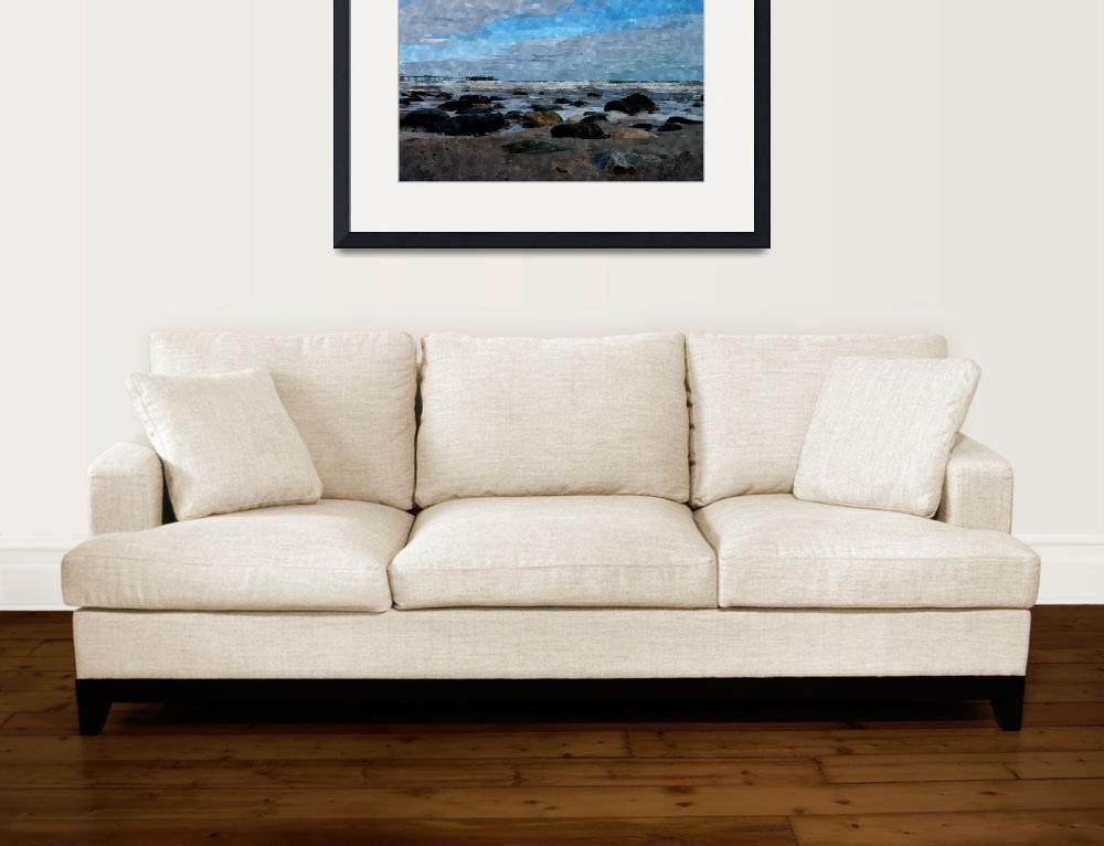 """beautiful blue sky beach waves rocks art print&quot  by rogueart"