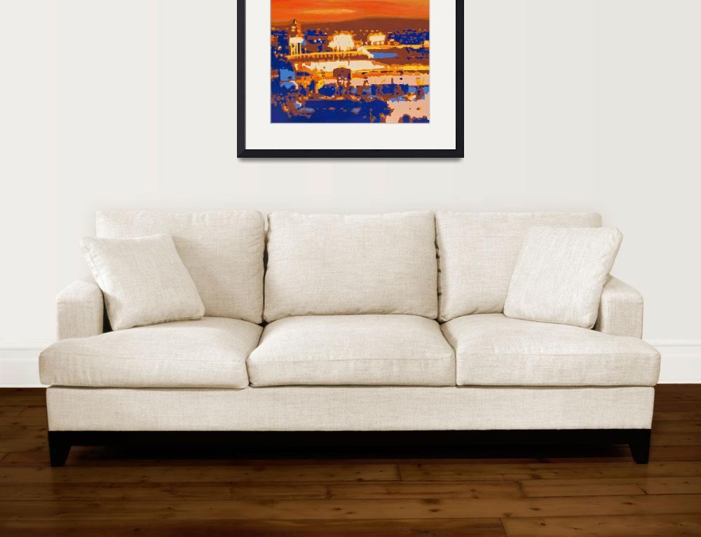 """Dodger Stadium at Sunset (Part 1)&quot  (2016) by BarbyCahillFineArt"