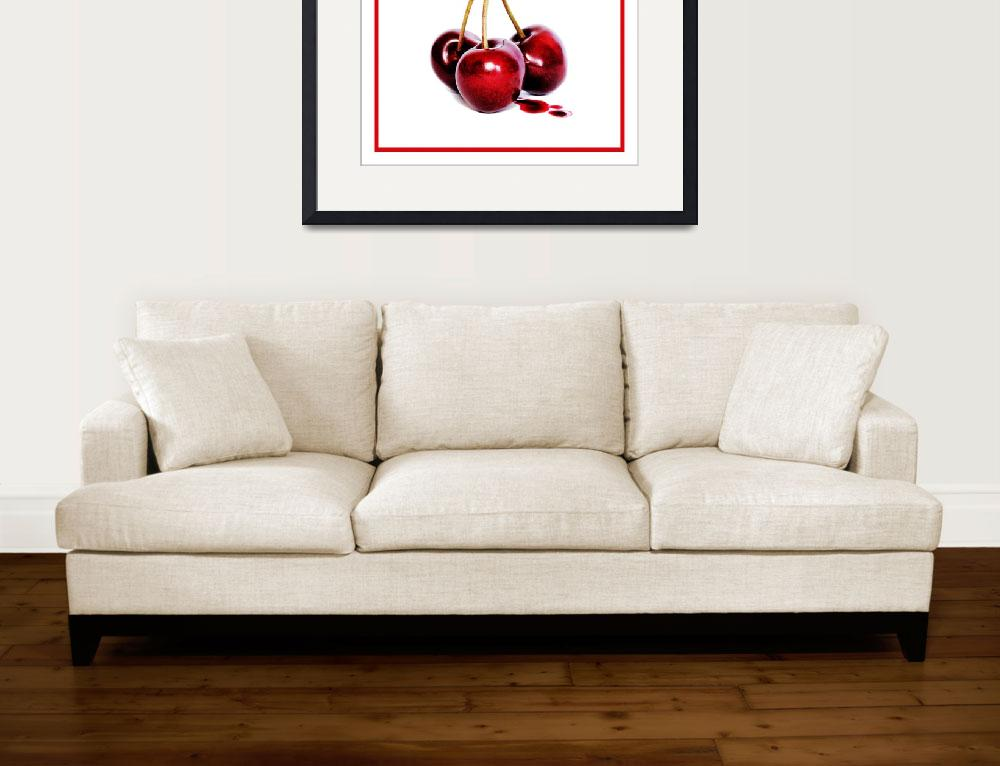 """""""Cherries red border&quot  (2010) by chriscoley"""
