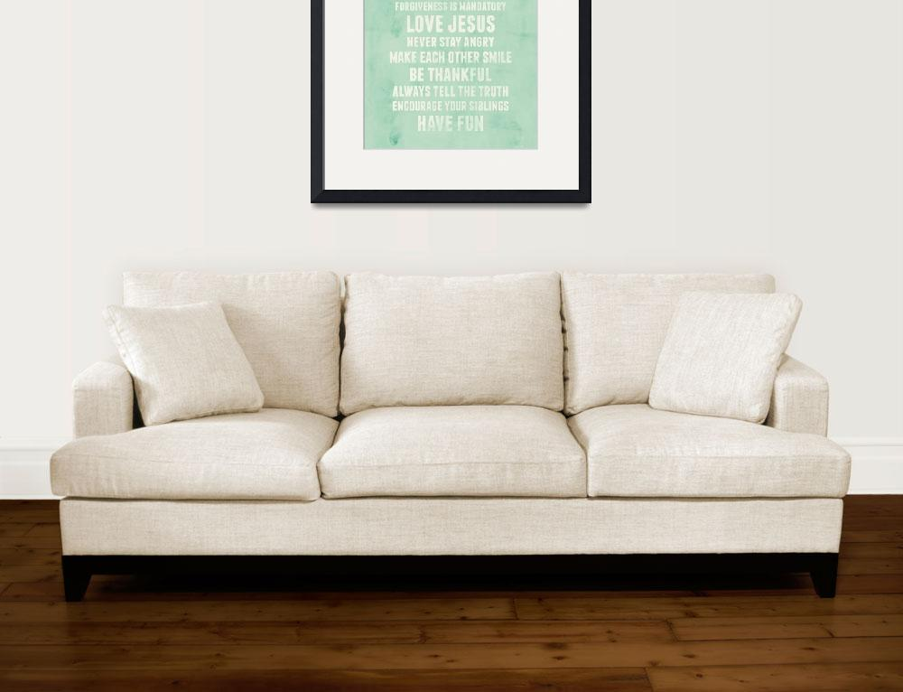 """""""Be Thankful Family Rules Wall Art&quot  by KateLillyson"""