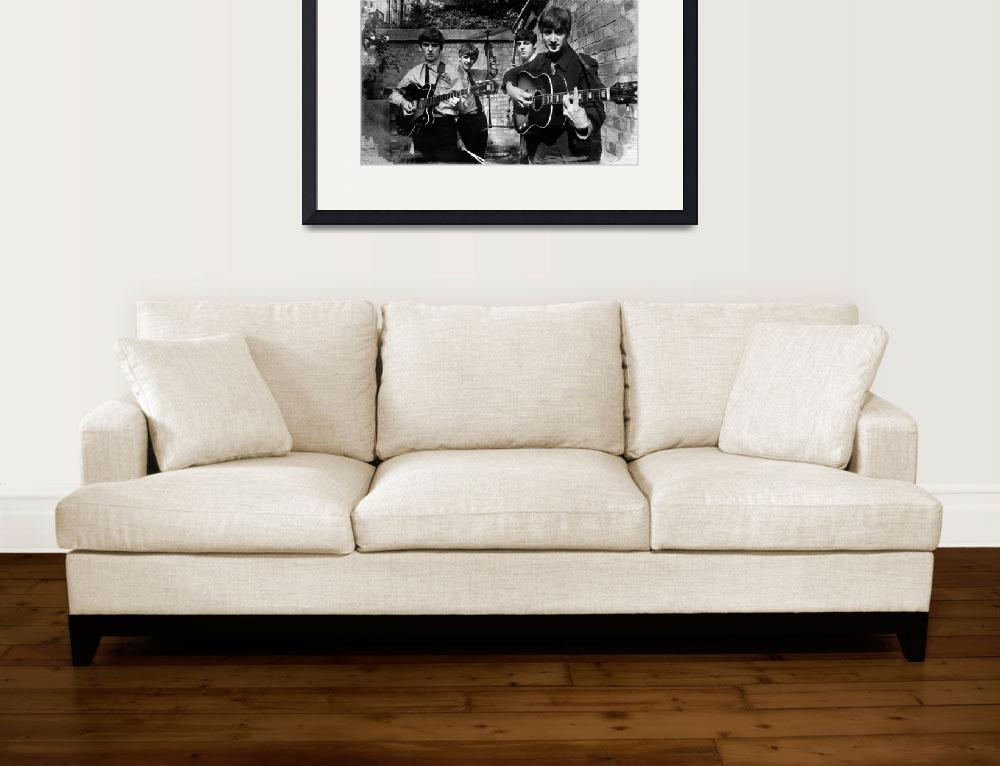 """The Beatles In London 1963 Black And White Paintin&quot  by RubinoFineArt"