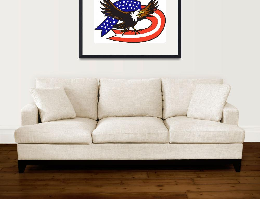 """American Bald eagle screaming with USA flag&quot  (2013) by patrimonio"