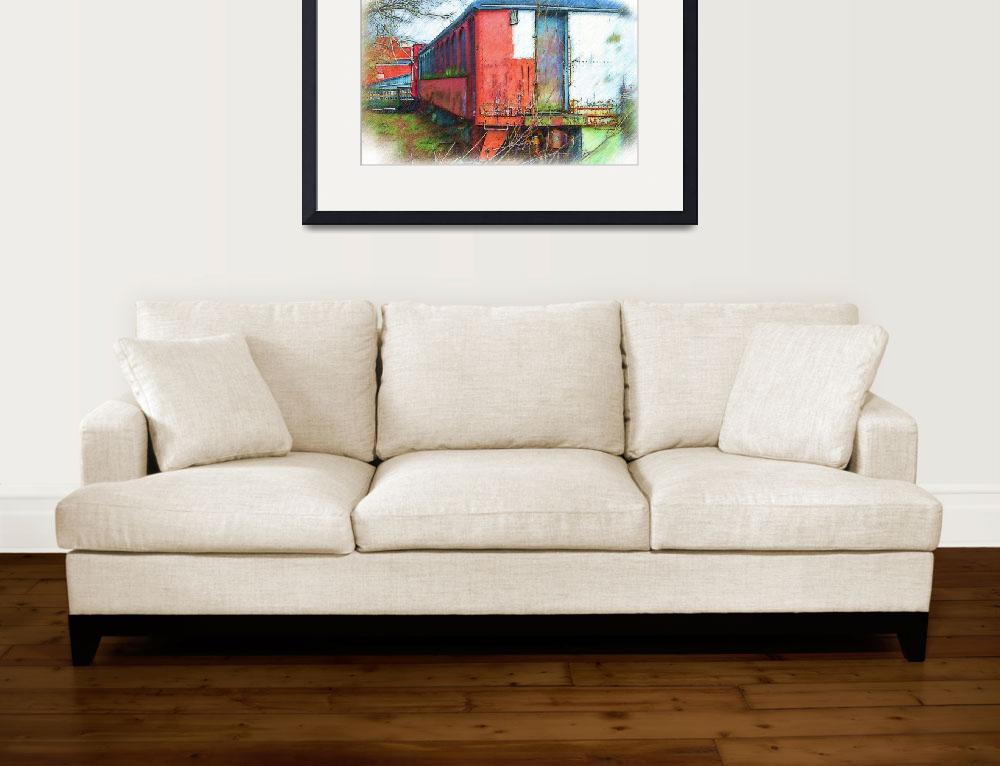 """The Red Railroad Car&quot  (2015) by Kirtdtisdale"
