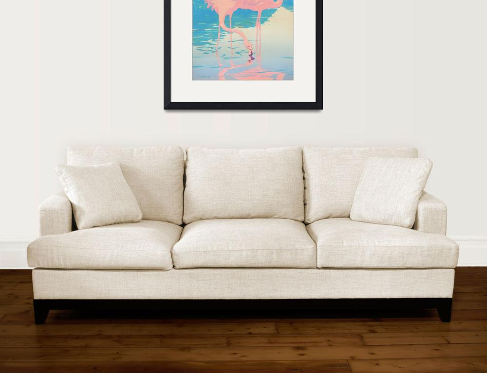 """""""Pink Flamingos abstract retro pop art&quot  (1986) by walt-curlee"""