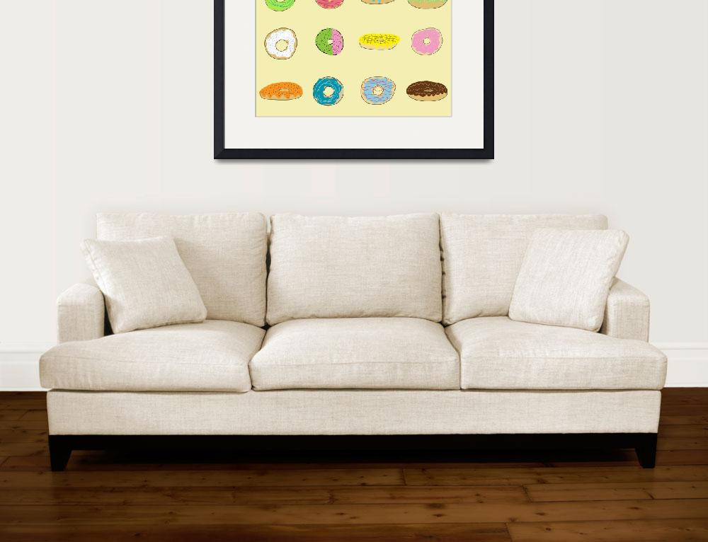 """""""Sixteen Donuts on Yellow&quot  (2013) by TuesdayMoon"""
