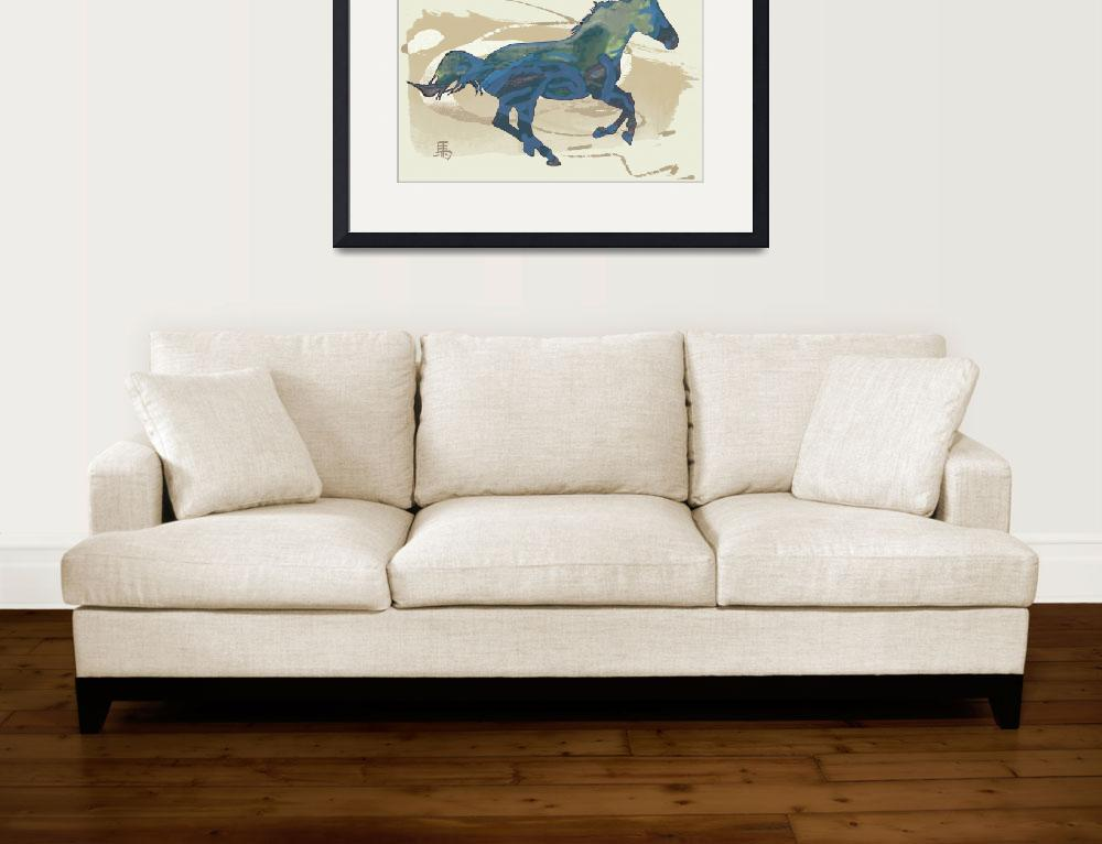 """""""Horse racing stylised painting art poster""""  (2014) by visualharbour"""