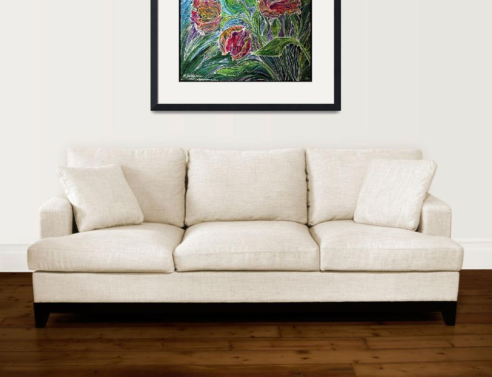 """""""PARROT TULIPS BATIK ABSTRACT""""  (2011) by MBaldwinFineArt2006"""
