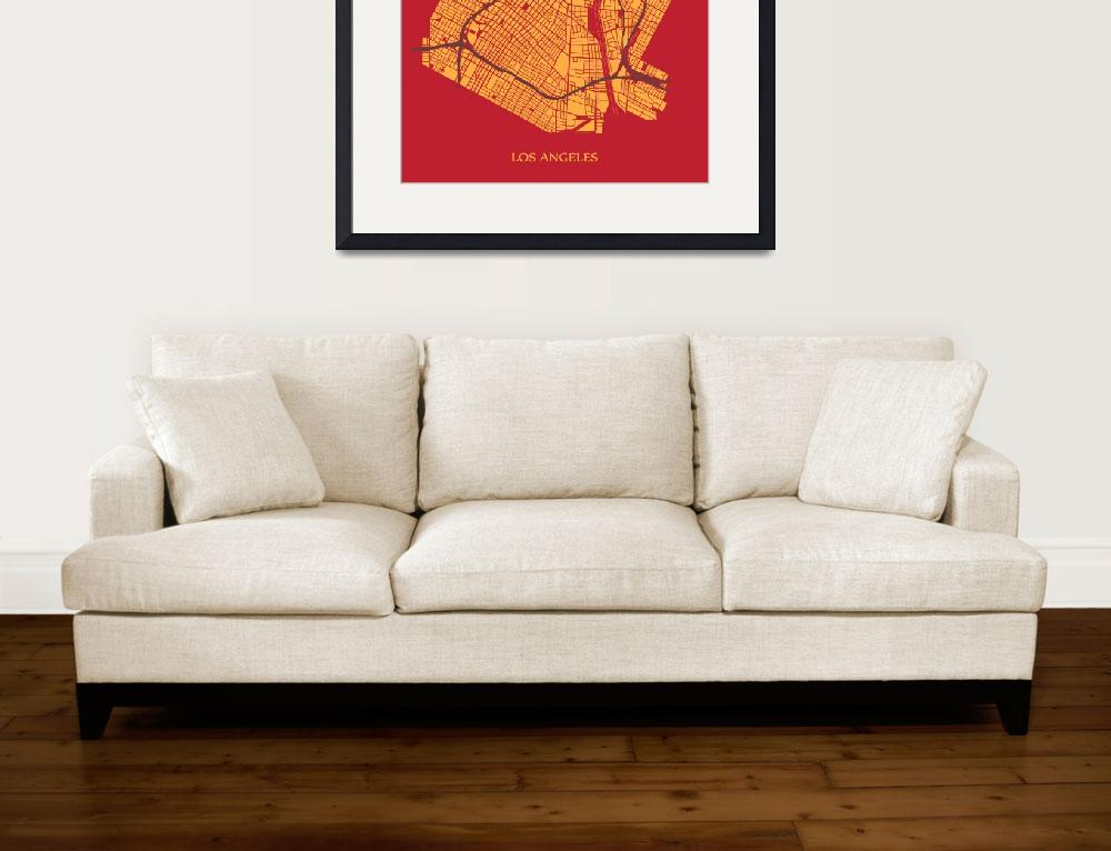 """""""Los Angeles - Gold on Red with Title&quot  (2013) by geosthetics"""