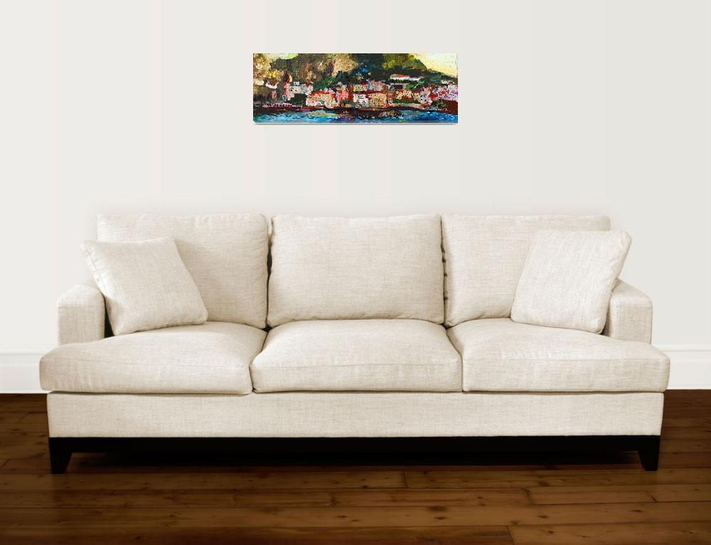 """Abstract Panoramic Amalfi Coast Italy Painting""  (2012) by GinetteCallaway"