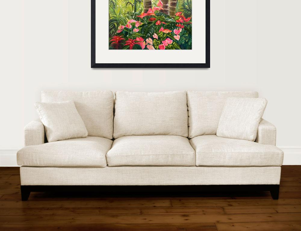 """""""Tropical Red and Pink Anthurium Jungle""""  by JennyFloravita"""