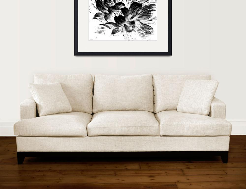 """Expressive Black & White Abstract Floral A8816&quot  (2016) by MasArtStudio"