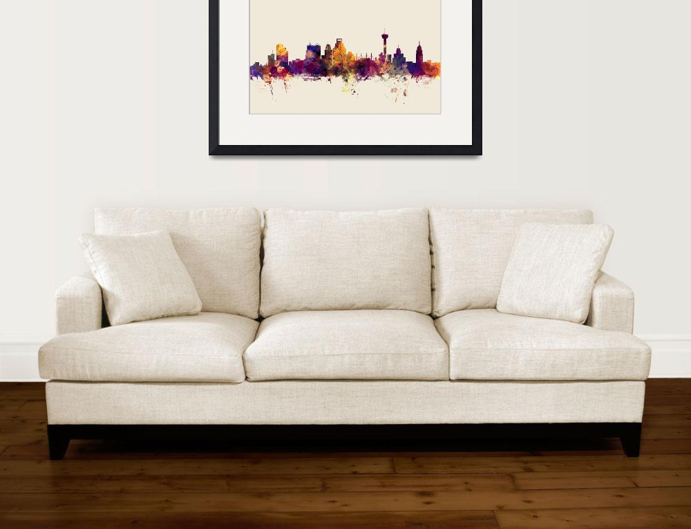 """San Antonio Texas Skyline&quot  (2016) by ModernArtPrints"