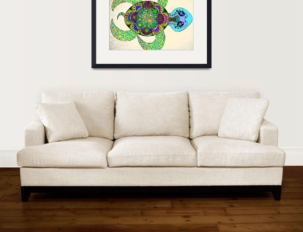 """""""Dream Turtle blue green""""  (2013) by Rawlcolor"""
