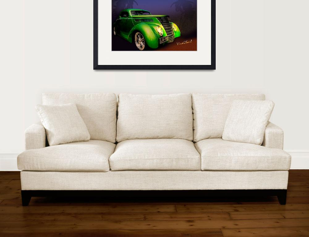 """""""Green 37 Ford Hot Rod on a Sultry Night&quot  (2012) by chassinklier"""